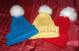 Fox Fur Pom Beanie Hats in Yellow, Red or Blue